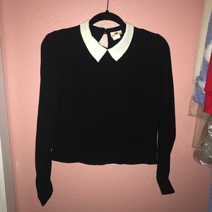 Black long sleeve Top with White Collar